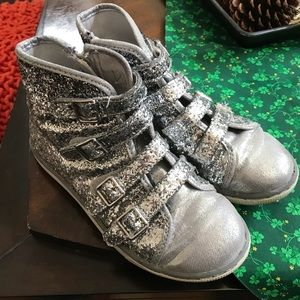 Justice Silver glitter Velcro sneakers